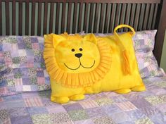 Lion Pillow Sham from 3 Silly Monkeys on Etsy. Made from soft fleece.These soft and cuddly animal pillows are the perfect touch for any child's bedroom. Safe for toddlers Handmade inch pillows Machine washable Made in a smoke-free and pet-free envi Baby Pillows, Kids Pillows, Animal Pillows, Baby Sewing Projects, Sewing For Kids, Sewing Crafts, Pillow Pals, Fox Pillow, Quilt Baby