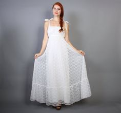 Hey, I found this really awesome Etsy listing at https://www.etsy.com/listing/197223484/70s-white-lace-dress-pleated-empire