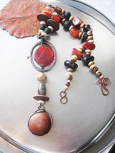 Copper Carnelian Ceramic Tribal Necklace and Earrings by Mary Bulanova