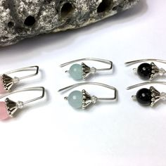 New crystal-capped gemstone threaders. Sterling silver, handmade.   Choose rose quartz, aquamarine or onyx (shown) or request any stone from my shop.   •Lightweight & easy to wear. Perfect for any day - every day.  •A great gift; gift-ready packaging.
