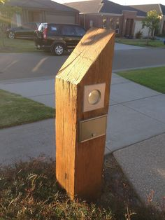 Solid wood letterbox - carved with a chainsaw from a recycled piece of ironbark