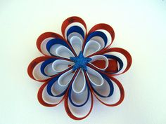 4th of July Stars Flower Looped Hair Bow by kittygatotreats, $4.50