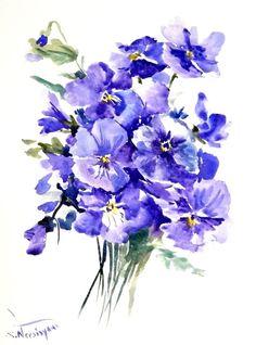 Blue Pansies, original watercolor painting, 12 X 9 in, blue purple floral art