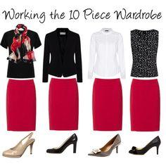 Working the 10 Piece Wardrobe ~ Spring 2013 Red Skirt Outfits, Pencil Skirt Outfits, Red Skirts, Cute Outfits, Red Pencil Skirts, 10 Piece Wardrobe, Work Wardrobe, Capsule Wardrobe, Work Fashion