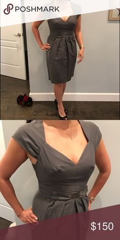 Grey Rebecca Taylor dress Pristine condition dress. Sweetheart neckline and belt. Worn once Rebecca Taylor Dresses Midi
