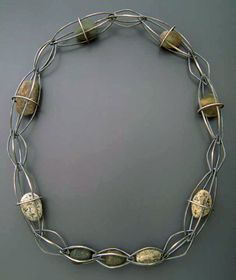 Necklace | Todd Reed.  Sterling silver, pebbles.