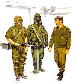 • Combat engineer, Sidon, July 1982  • Combat engineer, NBC kit, 1984  • Mst. Sgt., Combat engineer, 1985