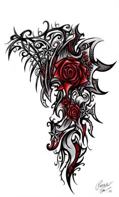 Tribal Rose Tattoo Designs for Men Tribal Rose Tattoos, Celtic Tattoos, Flower Tattoos, Tribal Shoulder Tattoos, Tattoo P, Body Art Tattoos, Sleeve Tattoos, Chest Tattoo, Tattoo Designs For Women