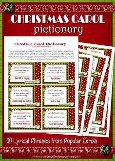 Christmas Carol Pictionary - Printable INSTANT DOWNLOAD