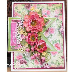 Beautiful Peony Banners  - created w/ the Sweet Peony collection from Heartfelt Creations #HeartfeltCreations #cardmaking #ThinkingofYou