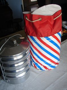 Vintage Silver Aluminum Picnic Lunch Pail Pack Picnic Basket Retro Lunch Pail or Camping Cookware & Serving Plates. $24.00, via Etsy.