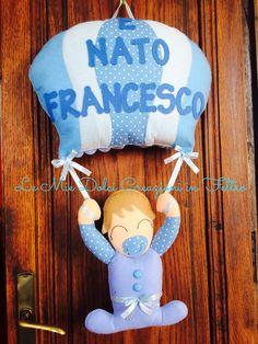 Fiocco nascita mongolfiera Piu bambino per Francesco in feltro