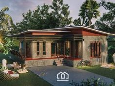 Modern Bungalow House With Three Bedrooms And Open Veranda - Cool House Concepts Modern Bungalow House, Rural House, Bungalow Exterior, Modern House Plans, Modern House Design, Bungalow Designs, Asian House, Thai House, Two Bedroom House Design