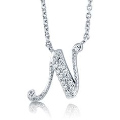 """BERRICLE Sterling Silver CZ Personalized Initial Letter """"""""N"""""""" Pendant... ($49) ❤ liked on Polyvore featuring jewelry, necklaces, clear, pendant necklace, sterling silver, women's accessories, sterling silver jewelry, cross necklace, chain necklace and pendants & necklaces"""