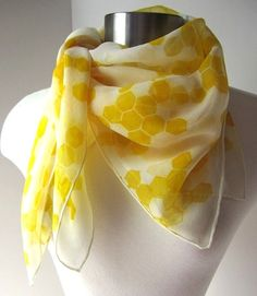 Soft Honeycomb  Sheer  Hand Painted Silk Scarf  by joyinmystudio, $35.00
