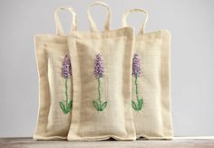 Embroidered Lavender Sachets Set Of Three Handmade