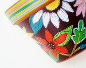 """Hand Painted Planter, Terracotta Flower Pot 4 Inch """"Brightly"""" Ready to Ship Decorated Flower Pots, Painted Flower Pots, Painted Pots, Hand Painted, Ceramic Pots, Clay Pots, Terracotta Flower Pots, Crafts To Make, Floral Design"""