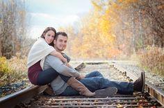engagement photos on railroad tracks   Fall engagement shoot #train tracks