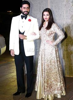 Abhishek Bachchan with wife Aishwarya Rai Bachchan at Manish Malhotra's grand birthday bash.