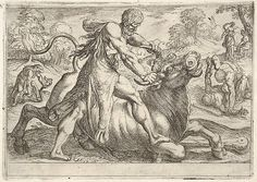 Antonio Tempesta | Hercules and Achelous: at center Hercules grasps the horns of a bull while pressing his right foot onto its leg, at left Hercules wrestles a serpent, at right Hercules wrestles a male figure on the ground, from the series 'The Labors of Hercules' | The Met
