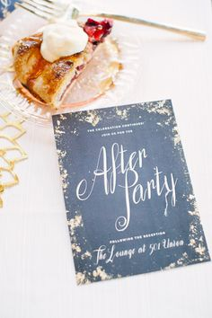 golden #invitations to an elegant afterparty |  Photography: Brklyn View Photography - www.brklynview.com, Florals by http://www.lindsayraedesign.com, Event Design by http://www.lindsayraedesign.com, Paper Goods by http://www.1440nyc.com  Read More: http://stylemepretty.com/2013/10/14/after-wedding-inspiration-from-michelle-edgemont-brklyn-view-photography/