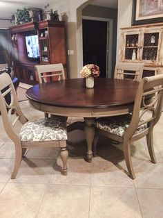 ASCP Coco on the chairs and base. General finishes Brown Mahogany gel stain on the top. By: https://www.facebook.com/JohnAndHeather.Farri?fref=photo
