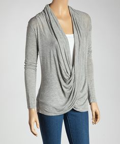 Gray Twist Drape Top