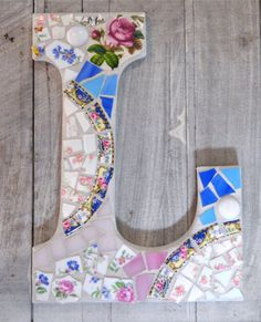 Mosaic Alphabet Letter with Vintage China and Stained Glass