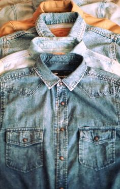 denim button-ups.and i got mostly all of them its hard to believe in my teens my mom wore theses all the time with a tshirt under it before it was in style and now its the new trend i call it the marta (my moms name ) trend