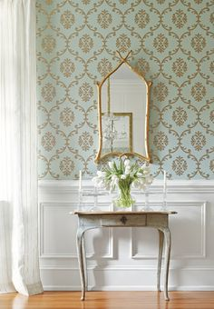 Thibaut's Bastille wallpaper with White Wall Panelling, from Design Omnivore