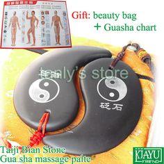 "Good quality! Si Bin Black Bian Stone Traditional Acupuncture Beauty face Massage Guasha Board ""TAIJI"" shape 2pce/set"