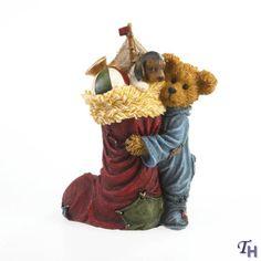 boyds bears figurines   Resin Figurine Bear Hugging Stocking by Boyds Bears