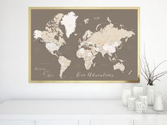 Custom quote world map print - neutrals world map with cities. Color combination: earth tones   Personalized world map poster, in this color combination, featuring your favorite quote. We can also add, in the left lower corner, a couple names, a baby name, family name + date...