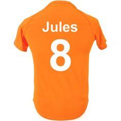 T-shirt de foot enfant personnalisé - Orange poupepoupi.com