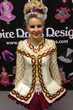 Champagne  Maroon Irish Dance Solo Dress by Doire Designs #Irish_Dancing