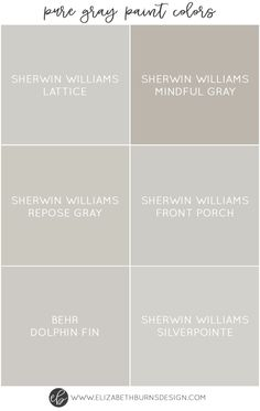 I love greige walls as much as the next gal, but sometimes you just want a  true gray. Not brownish, not greenish, not purplish. Just a beautiful, soft  grey. It can actually be a little tricky to find a 100% pure gray paint  color (even a few of the ones below have a hint of another tint to them  which I will explain) but these are pretty darn close.