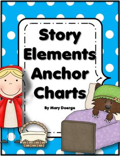 These cute story elements anchor charts are geared for Kindergarten and First Grade.  The Little Red Riding Hood theme provides a familiar story, which makes the identification of the elements simpler for the younger students.  You can have all the charts displayed on a bulletin board, or display one at a time as you focus on that particular element.Anchor charts included are:-characters-setting-plot -main idea-author -illustrator***Please leave feedback about this resource.