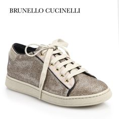 Brunello Cucinelli Metallic Stardust Sneakers Brunello Cucinelli! Gorgeous shoes that feature thin black borders in suede calfskin that enhances the effect of the textured lamé on the upper soles & frames the stardust jeweled detailing. Removable Insole to ensure comfort & correct posture. Color: Metallic, Beige & cream. Lace holes: Silver Tone (as seen in other pics). Material: 50% Polyurethane, 40% Polyethylene, 10% Polyester Size: 37, 7. Condition: Excellent-worn once to a shoot. Min wear…