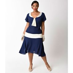 Unique Vintage Plus Size Navy Blue & Ivory Wilshire Flapper Day Dress ($78) ❤ liked on Polyvore featuring plus size women's fashion, plus size clothing, plus size dresses, plus size empire waist dress, 1920s flapper dress, vintage 20s dresses, white flapper dress and women plus size dresses