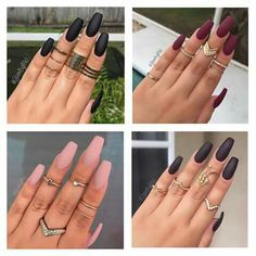 #black #burgundy #nude #neutral #pink #purple #nails #square #shaped #matte #fall #vamp #glam #gold #rings #cristals #sparkle