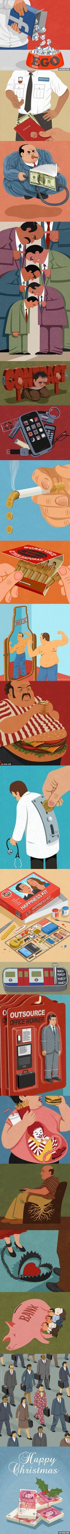 19 Satirical Illustrations from John Holcroft Capture The Humor In Our Modern-Day Flaws