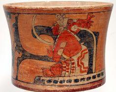 Maya Ritual Polychrome Cylinder Vessel