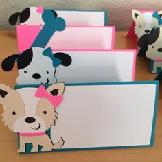 Set of 12 teal and pink puppy dog party food by pinktreepapers