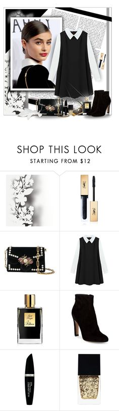 """BLACK AND WHITE"" by angelflair ❤ liked on Polyvore featuring Élitis, Yves Saint Laurent, Proenza Schouler, Kilian, Gianvito Rossi, Max Factor and Witchery"