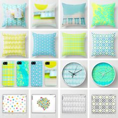 Cally Creates California range in shades of yellow, blue, aqua, turquoise, pale grey. Includes cushions, clocks, iphone covers, shower curtains, ipad and laptop cases and skins, iphone and ipod touch skins and cases, cards, art prints, stretched canvases.