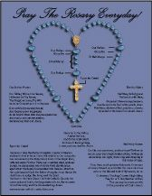 This chart has the Catholic Rosary prayers and a diagram of which bead on which to pray which prayer. Great for Catholic converts and teaching Catholic children's prayers.