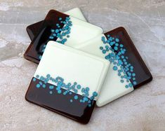 4 fused glass coasters, Vanilla Cream, Amber, Turquoise Fused Glass Coasters