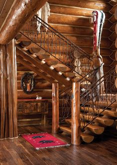 This Gorgeous Log Cabin Pays Homage to Our National Parks - Mountain Living - - With massive, flared red cedar posts and half-log stairs, a handcrafted Jackson home echoes the iconic lodges of Yosemite and Yellowstone. Log Cabin Living, Mountain Living, Log Cabin Homes, Log Cabins, Mountain Cabins, Rustic Cabins, Cedar Posts, Rustic Stairs, Wood Staircase
