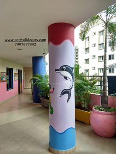 3d Wall Painting, Cartoon Painting, Texture Painting, Classroom Walls, Classroom Decor, Girls Room Paint, School Murals, School Painting, School Decorations