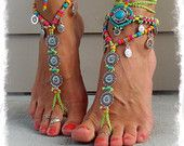 Yggdrasil TREE of life BAREFOOT SANDALS Turquoise Stone by GPyoga